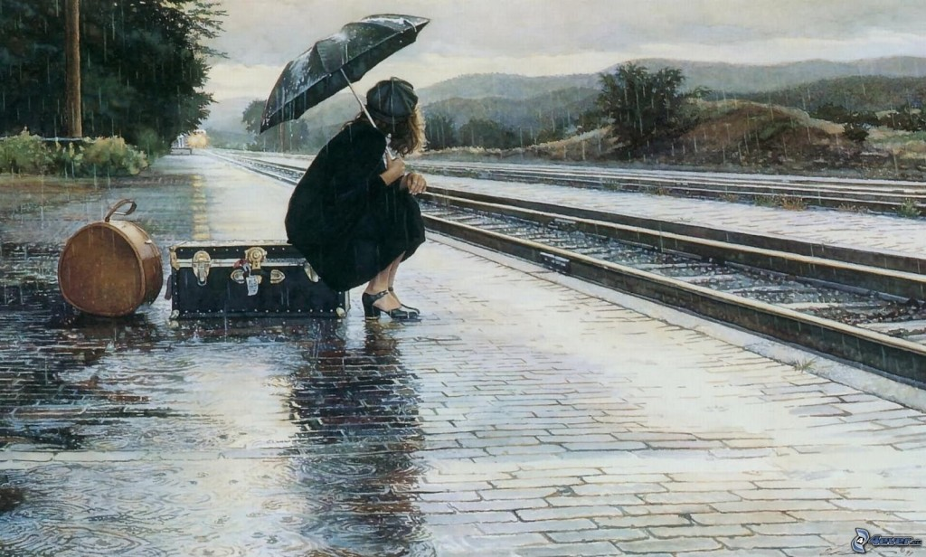 mujer-en-la-lluvia,-pista,-la-estacion-de-tren-187996