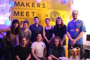 Les artisans de Helios à la première rencontre des artisans. En bas au centre, Le Lambert, le fondateur de Helios En haut à gauche, Justyna Ausareny, codirectrice